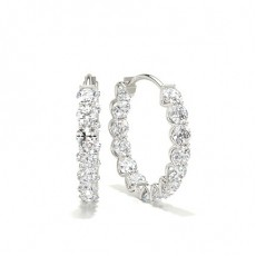 4 Prong Setting Round Diamond Hoop Earring