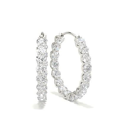 White Gold Round Diamond Designer Earring