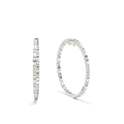 Full Bezel Setting Round Diamond Cluster Earrings