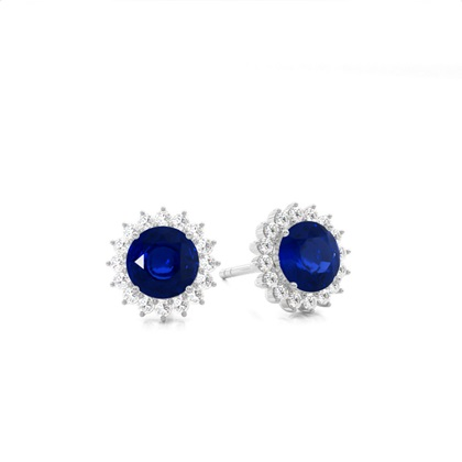 Platinum Gemstone Diamond Earrings