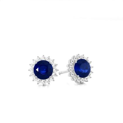 White Gold Gemstone Diamond Earrings