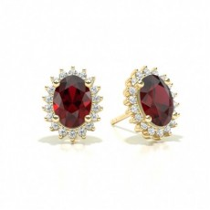 Prong Setting Oval Ruby Stud Earring