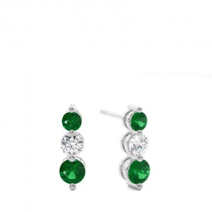2 Prong Setting Emerald Drop Earrings