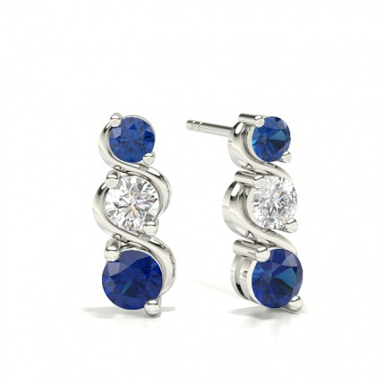 2 Prong Setting Round Blue Sapphire Drop Earrings