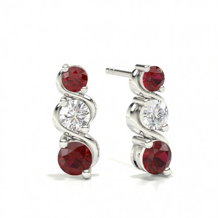 2 Prong Setting Ruby Drop Earrings