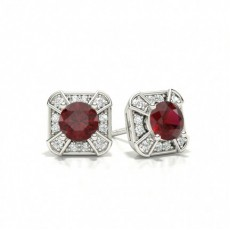 Prong Setting Ruby Stud Earring