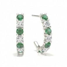 Prong Setting Round Emerald Hoop Earring