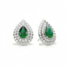 Prong Setting Pear Emerald Halo Stud Earring