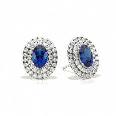Oval Stud Diamond Earrings