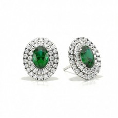Platinum Emerald Earrings
