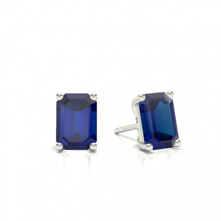 4 Prong Setting Round Blue Sapphire Stud Earring