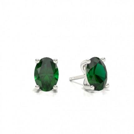 4 Prong setting Oval Emerald Stud Earring