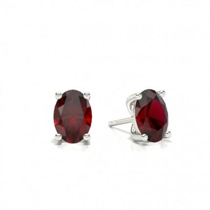 4 Prong setting Oval Ruby Stud Earring