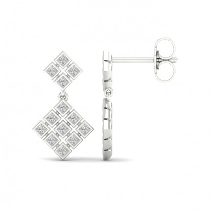 Full Bezel Setting Princess Diamond Drop Earrings