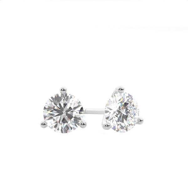 3 Prong Setting Round Diamond Stud Earring