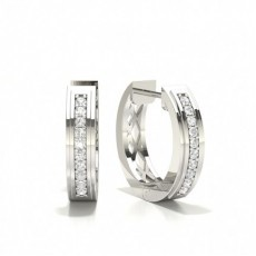 Pave Setting Round Diamond Hoop Earrings