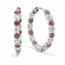 Round Ruby Earrings