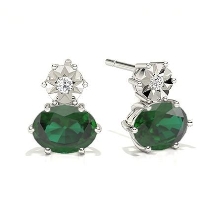 Oval Emerald Drop Diamond Earrings