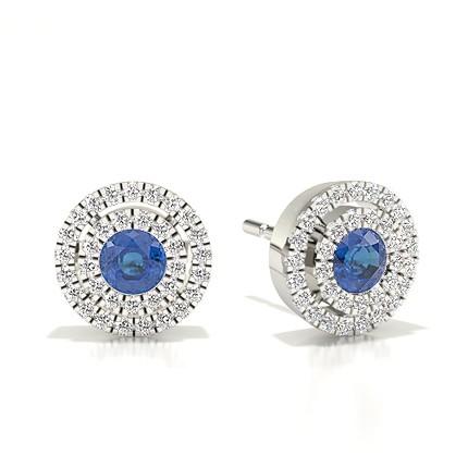 Bezel Setting Halo Blue Sapphire Earring