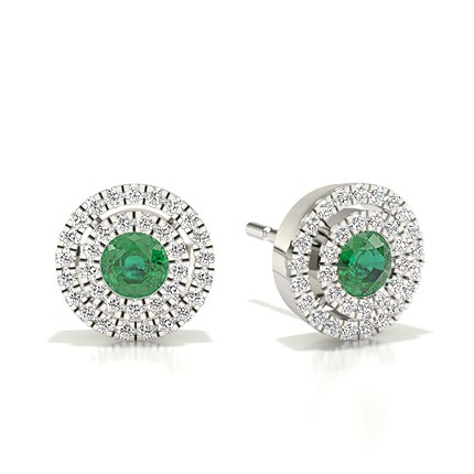 Bezel Setting Halo Emerald Earring
