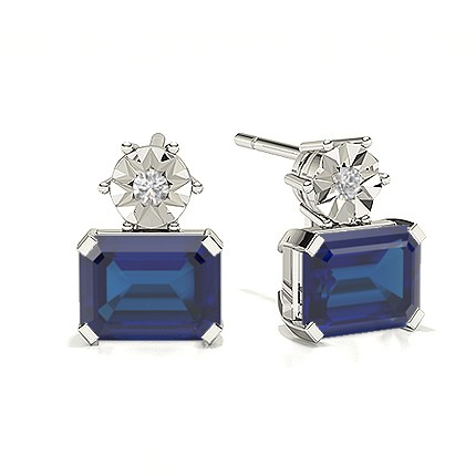 Emerald Blue Sapphire Drop Diamond Earrings