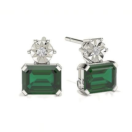 Emerald Drop Diamond Earrings
