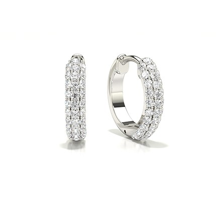 Micro Prong Setting Round Diamond Hoop Earrings