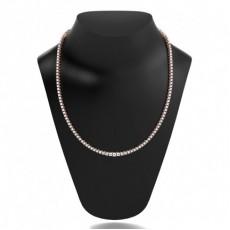 Round Rose Gold Tennis Necklaces Pendants