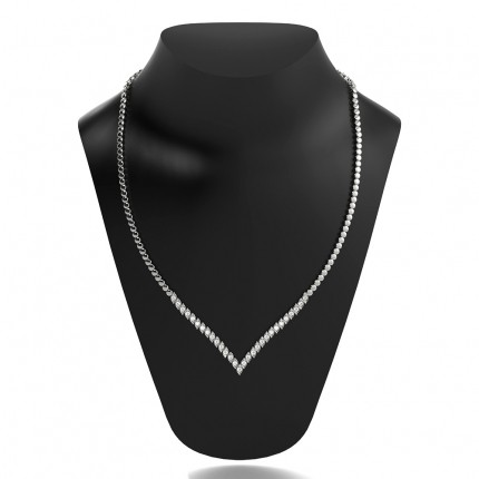 2 Prong Setting Round Diamond Marquise Shape Necklace
