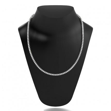 4 Prong Setting Princess Diamond Tennis Necklace