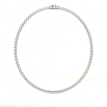 4 Prong Setting Round Diamond Tennis Necklace