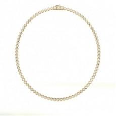 Round Yellow Gold Tennis Necklaces Pendants