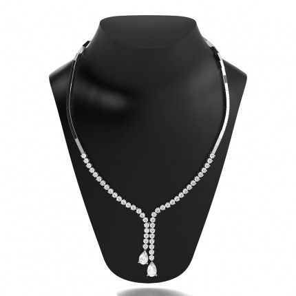 3 Prong Setting Tennis Necklace