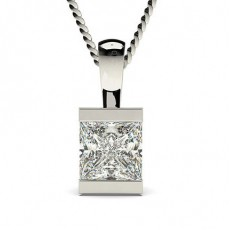 Princess White Gold Solitaire Pendant