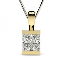 Princess Yellow Gold Solitaire Pendants