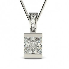 Princess White Gold Solitaire Pendants