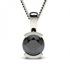 Semi Bezel Setting Black Diamond Solitaire Pendant