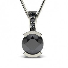 Semi Bezel Setting Solitaire Black Diamond Pendant