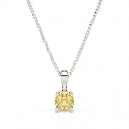 4 Prong Yellow Diamond Solitaire Pendant