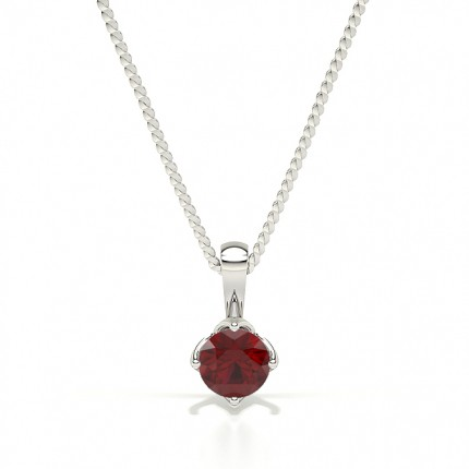 4 Prong Ruby Solitaire Pendant