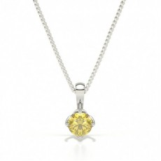 4 Prong Yellow Diamond Solitaire Pendant