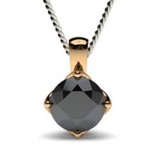 Round Rose Gold Black Diamond Pendants