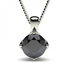 4 Prong Setting Black Diamond Solitaire Pendant