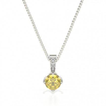 Prong Set Yellow Diamond Solitaire Pendant