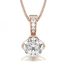 Round Rose Gold Solitaire Pendants