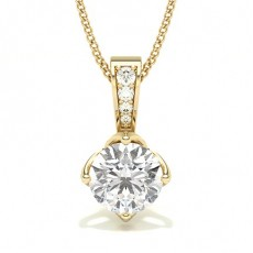 Round Yellow Gold Solitaire Pendants