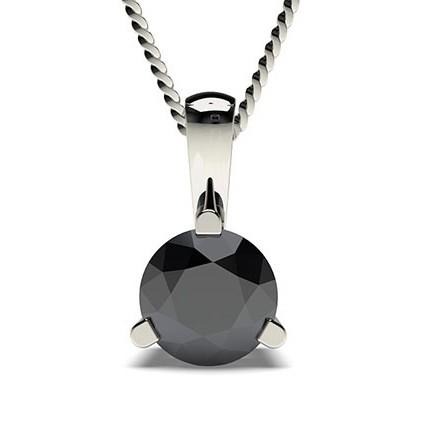 3 Prong Setting Black Diamond Solitaire Pendant