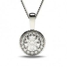 Round Platinum Halo Pendants