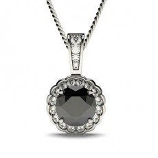 4 Prong Setting Halo Black Diamond Pendant