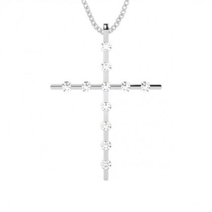 Channel Setting Cross Pendant